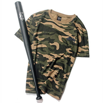 Hip-hop Camouflage Short Sleeve Cotton T-shirts [9910453699]