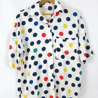 Polka Dot White 80s Mod Retro Collar Shirt Blue Yellow Short Sleeve Rayon shirt 1980s Preppy Oversized Blouse Vintage Size Medium Large