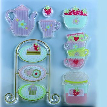 1 sheet beauty and beast tea cup series  Transparent Stamp Clear  Seal DIY Scrapbooking stamp Decorative free shipping