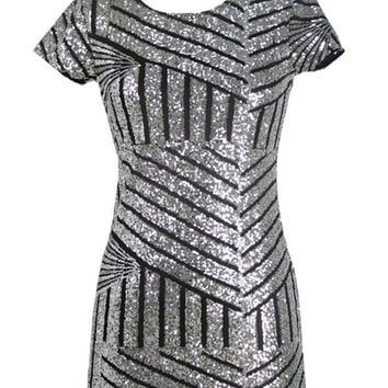 Gold Sequins Geometric Sheath Slim Backless Mini Dress