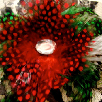 Feather Fascinator Valentines Day Rose by FeatherFunded