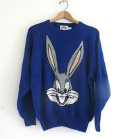 vintage Bugs Bunny Looney Tunes sweater / blue vneck sweater
