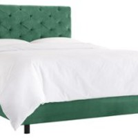 Cassie Tufted Bed, Laguna Green, Panel Beds