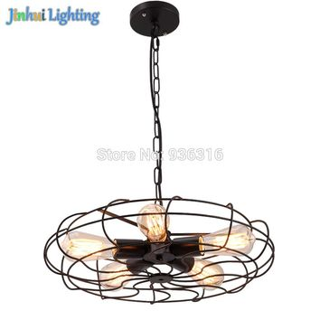 Vintage Barn Metal Hanging Ceiling light Max. 200W With 5 Lights Painted Finish Vintage Retro Industrial Fan Ceiling Lights