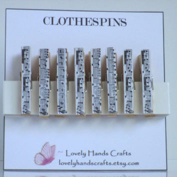 Mini - Musical Notes - Decorative Clothespins - Set of 8