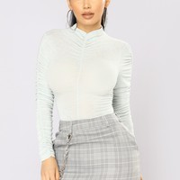 Ruched All Over Top - Mint