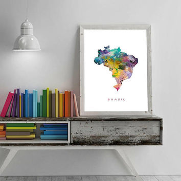 Brazil Map Watercolor Print Brasil Map Art Print Gift Wall Art Poster Wall Decor Office Decor Wall Hanging Gift For Mom Digital Download