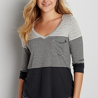 the 24/7 colorblock tee with stripes | maurices