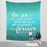 The Sea - Quote from Jacques Cousteau Wall Tapestry by Noonday Design