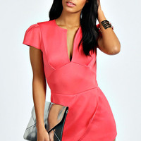Pink Pleated Cap Sleeves Romper