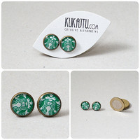 Starbucks earrings, Starbucks stud, starbucks jewelry, coffee earring, coffee jewelry green white, ear studs earrings, vintage style, bronze