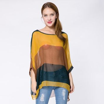 Bohemian Broad Stripe Colorful Print Loose Fit Batwing Sleeve Women's Spring Blouse