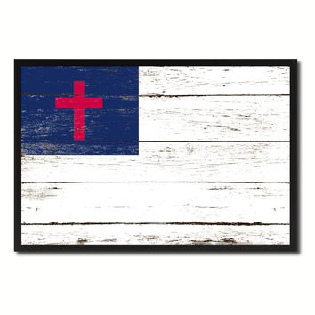 Kayso Christian Religious Military Flag Vintage Canvas Print with Picture Frame Home Decor Man Cave Wall Art Collectible Decoration Artwork Gifts