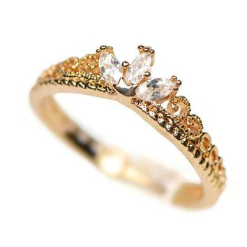ICIKHNW Yellow Gold Dainty Princess Crown Ring