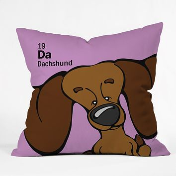 Angry Squirrel Studio Dachshund 19 Throw Pillow