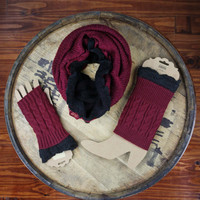 Mississippi State Maroon & Black Game Day Scarf, Boot Cuff & Gloves Bundle