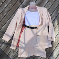 ESPRIT Sport Women's Soft Pink 4 Piece Suit - SET with Pant/Skirt/Vest and Blazer  SIZE 9/10 -High Waist with Pleats -Excellent condition