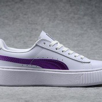 DCCKIJ2 Puma Rihanna Casual Patent Leather Flatform Shoes White Purple