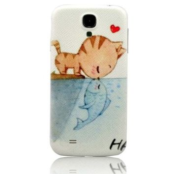 I Need(TM) Popular Love Cat & Fish Pattern Hard Battery Back Cover Case Compatible For Samsung Galaxy S4 I9500