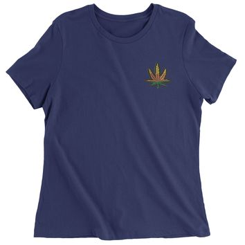 Embroidered Rasta Pot Leaf Patch (Pocket Print) Womens T-shirt
