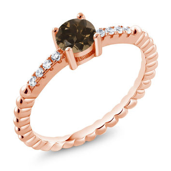 Brown Smoky Quartz Swarovski Zirconia 18K Rose Gold Plated Silver Ring