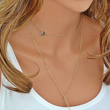 Initial Choker Necklace, Personalized Choker, Choker Necklace, Initial Necklace Gold, Letter Necklace, Dainty Disc Necklace Silver or Gold