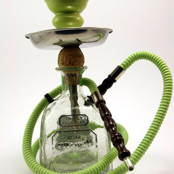 Green Patron Reposado 750ml Bottle Shisha Hookah With Matching  Hose, Tray, and Bowl