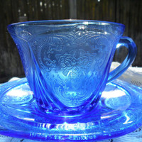 30's Vintage ROYAL LACE COBALT Depression Glass Teacup Saucer Hazel Atlas