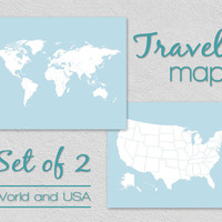 World Map and USA Map, Interactive Modern Travel Maps With Countries States, DIY Traveler Gift Set of 2 Plus Stickers, Two Wall Map Kit