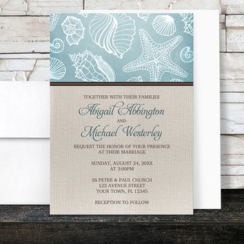 Beach Linen Wedding Invitations - Rustic Blue Seashell pattern with Brown and Beige Linen design - Printed