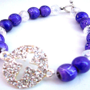Rhinestone Cross Bracelet - Christian Jewelry - Purple Bracelet - Cross Jewelry - Gift For Her