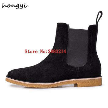 Real Leather Suede Man Rome Style Ankle Boots Fashion Street Design Man Casual Chelsea Boots Round Toe Outdoor Shoes