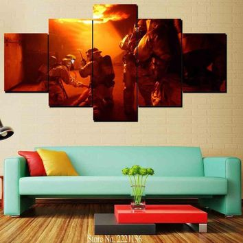 4 or 5 Pieces Firefighter Wall Art Canvas Print Firefighter Wall Art Fireman Canvas