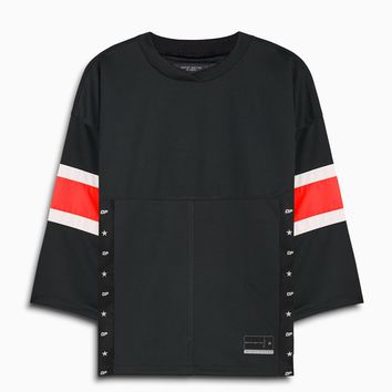 3/4 sleeve jersey / black + red + ivory
