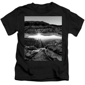 Supernatural West - Mesa Arch Sunburst In Black And White - Kids T-Shirt