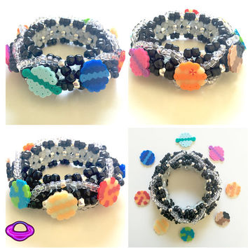 Kandi Solar System Cuff Pony Bead and Optional Perler Cuff 3D Kandi Cuff X Base Epic Kandi Cuff Rave Wear EDM bracelet Arm Plur Package EDC