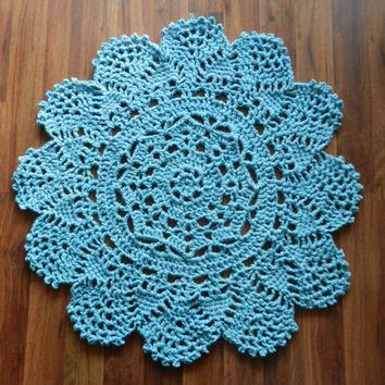 Crochet Doily Rug, floor, Rustic Blue- Robin's Egg - Lace- Small area rug, Cottage Chic- Oversized- shabby chic home decor- round rug