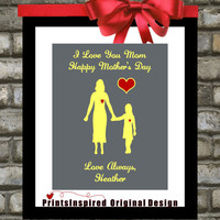 Personalized Mothers Day Gifts: Unique Art Print, Choose Custom Colors Message To Mom Mum Mommy From Daughter Home Decor Wall Art