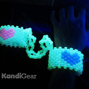 Glow in the dark kandi handcuffs For Ezoo, EDC, Ultra Music Festival, Tomorrowland, Electric Sky, PLUR