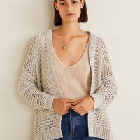 Open knit cardigan - Women | MANGO USA