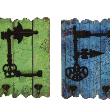 Stylish And Rustic Wood Metal Hooks Set Of Two With Imprinted Stamps And Writings