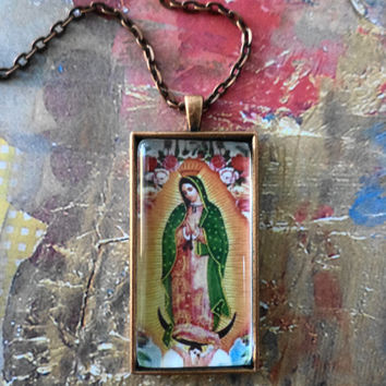 Nuestra Señora de Guadalupe  Or  Virgin Of Gaudelupe Another Brass Statement  Pendant Necklace
