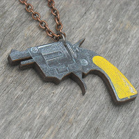 Gun Necklace, Pistol Necklace, Revolver Necklace, Toy Gun, Punk Rock, Yellow, Black, Wooden Lasercut, Laser Cut Wood,