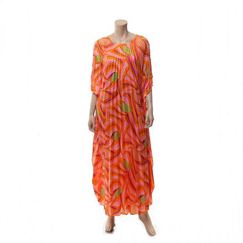 Vintage 60s 70s Sun Fashions Hawaii Pleated Maxi Dress 1960s 1970s Accordion Pleats Boho Luau Tiki Psychedelic Floral Muumuu Hippie Caftan