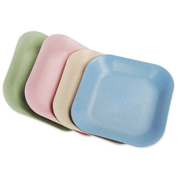 Creative Wheat Straw Square Dish Food Plate Kitchen Tableware Accessory Safety Multipurpose Plate