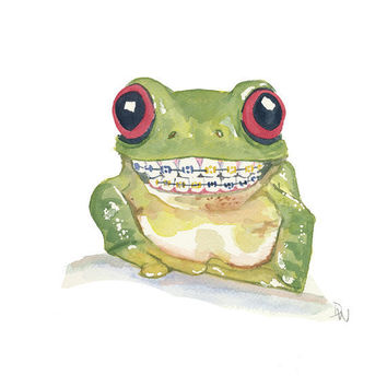 Original Frog watercolour Painting - Big Smile, Braces, Tree Frog, 8x10