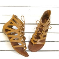 Santini Caged Lace-Up Gladiator Sandal {Tan}