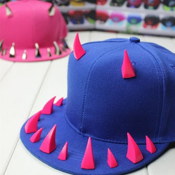 Summer New Fashion Wolf Tooth Baseball Caps Hip Hop Caps Punk Solid Color Hats One Size (Blue,Black, Red) = 1917208644