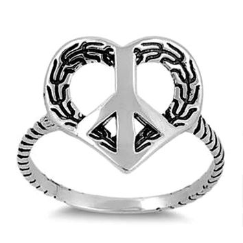 .925 Sterling Silver Peace Sign Leaf Earth Heart Ring Ladies size 5-9