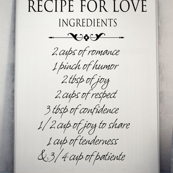 Recipe for love Printable Wall Art home decor love poster romantic print INSTANT DOWNLOAD
